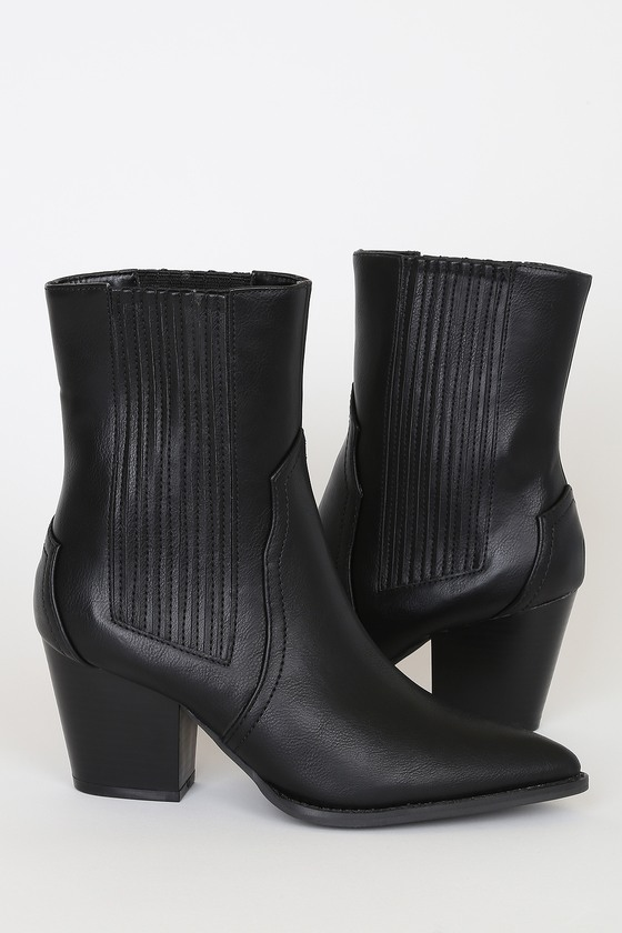 Lulus Exclusive! Step your shoe game up with the Lulus Lulus Vaylyn Black Pointed-Toe Mid-Calf Boots! These chic boots are shaped from sleek vegan leather and feature a pointed-toe upper and mid-calf grazing shaft. Seamed detail at the vamp adds Western-inspired flair, while covered gussets at the instep and outstep allow for easy on and off. 3\