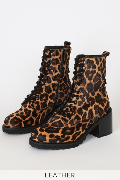 Irresistible Leopard Pony Hair Leather Mid-Calf Lace-Up Boots