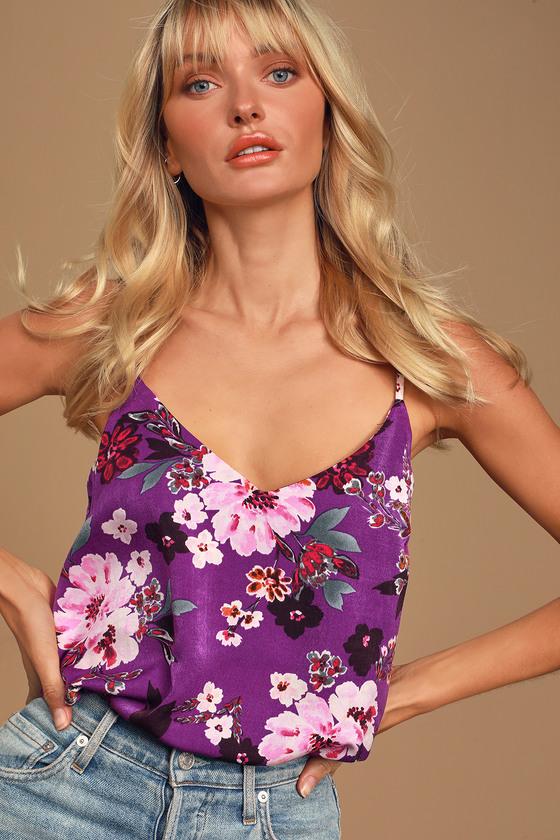 Sweet Enthusiasm Purple Floral Print Satin Sleeveless Bodysuit