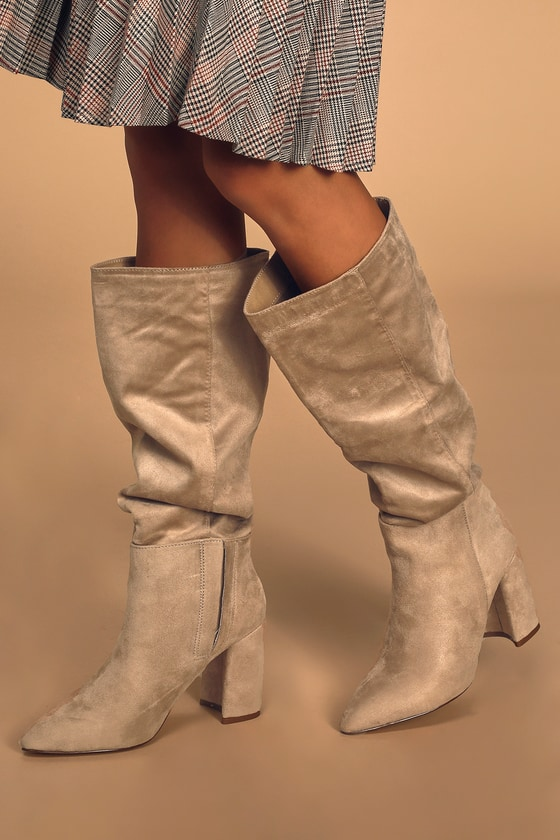 Katari Taupe Suede Pointed-Toe Knee High Boots