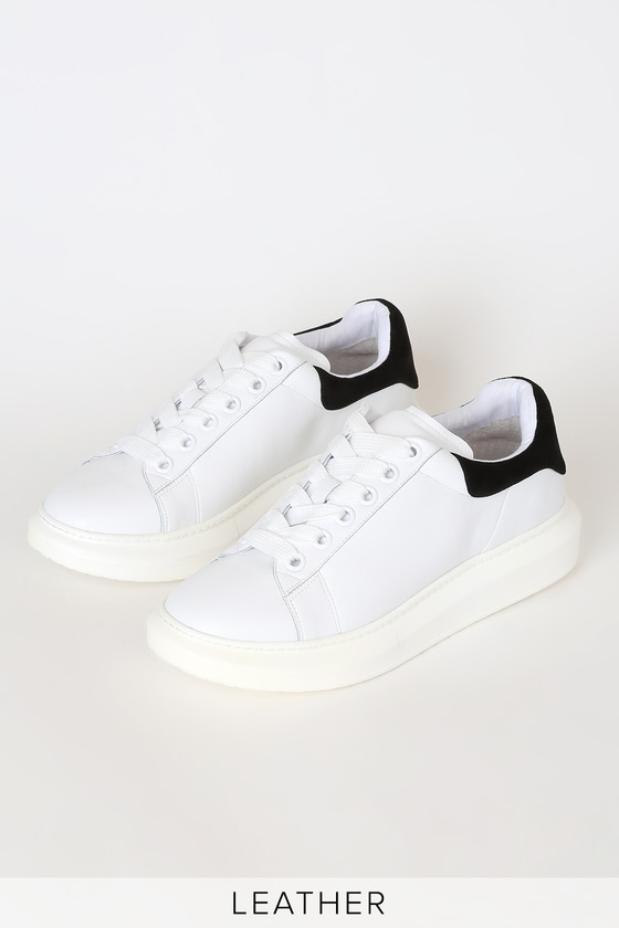 Glazed Black and White Leather Platform Sneakers