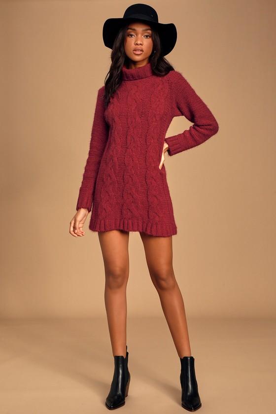 Joyous Burgundy Cable Knit Turtleneck Sweater Dress