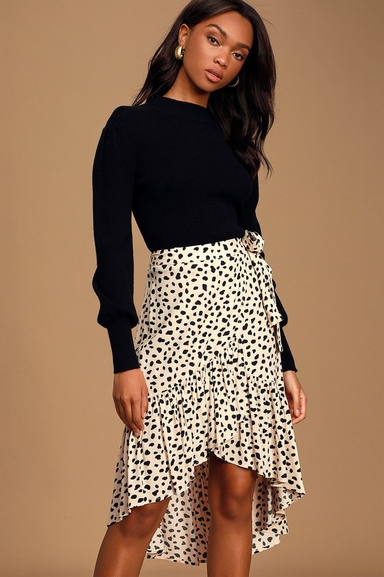 Daring Ambition Beige Leopard Print High-Low Ruffled Wrap Skirt