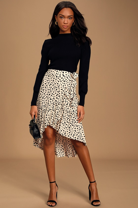 Moon River Daring Ambition Beige Leopard Print High-Low Ruffled Wrap Skirt