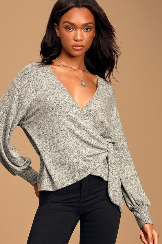 It's Meant To Be Heather Grey Faux-Wrap Long Sleeve Top