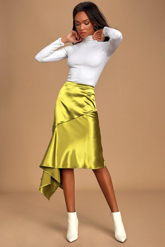 Moon River You Got the Love Olive Green Satin Asymmetrical Midi Skirt