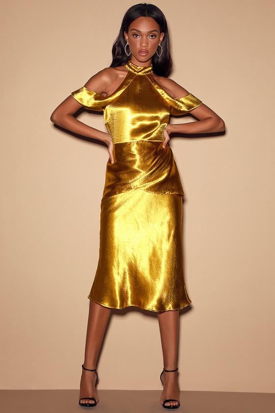 Glamorous Collection One Desire Gold Satin Cold-Shoulder Halter Midi Dress