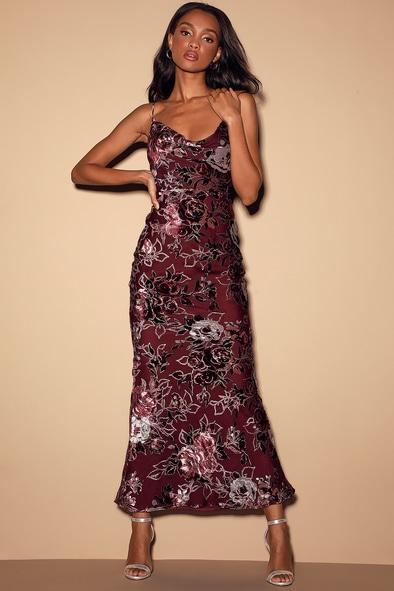 Embrace Me Burgundy Floral Velvet Cowl Neck Maxi Slip Dress