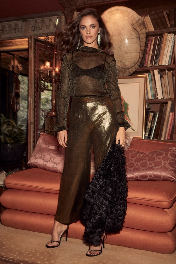 60s – 70s Pants, Jeans, Hippie, Bell Bottoms, Jumpsuits Rosalia Gold and Black Sheer Long Sleeve Top - Lulus $34.00 AT vintagedancer.com