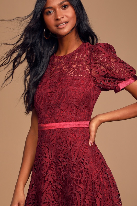 Image of Endless Perfection Burgundy Crochet Lace Midi Skater Dress - Lulus