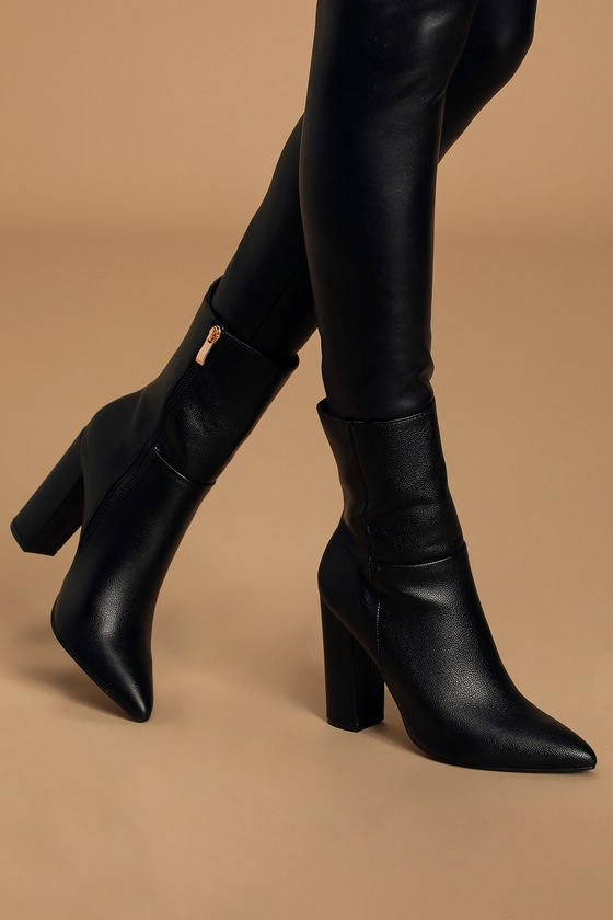Chic Black Pointed Toe Mid Calf Boots