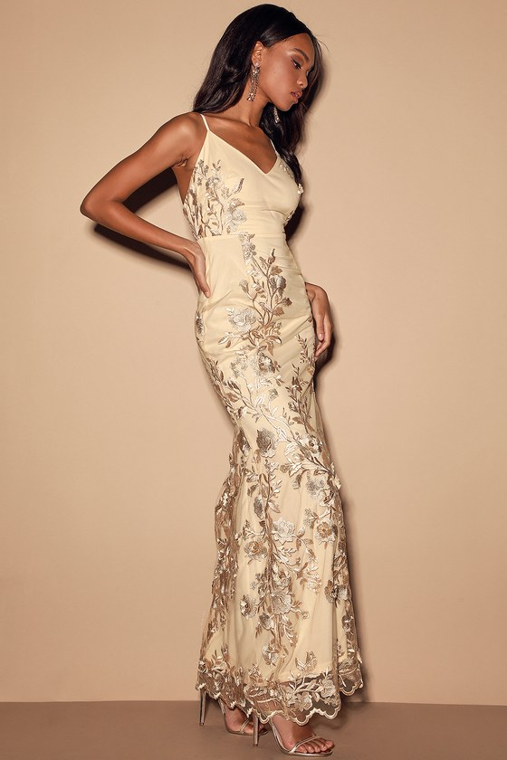 Here To Charm Gold Embroidered Sleeveless Maxi Dress