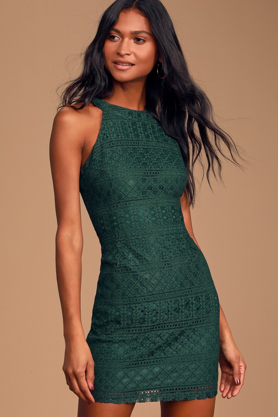 Guest List Forest Green Lace Halter Bodycon Dress