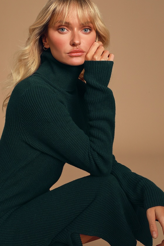 Lulus Exclusive! The Lulus Sheerah Forest Green Turtleneck Midi Sweater Dress is so cozy, you\'ll never want to take it off! Soft, medium-weight knit shapes a turtleneck and fitted long sleeves. Relaxed bodice leads into a figure-skimming midi skirt with twin side slits. Pair with a denim jacket for a chic layered look! Fit: This garment fits true to size. Length: Knee to mid-calf length. Size small measures 41\