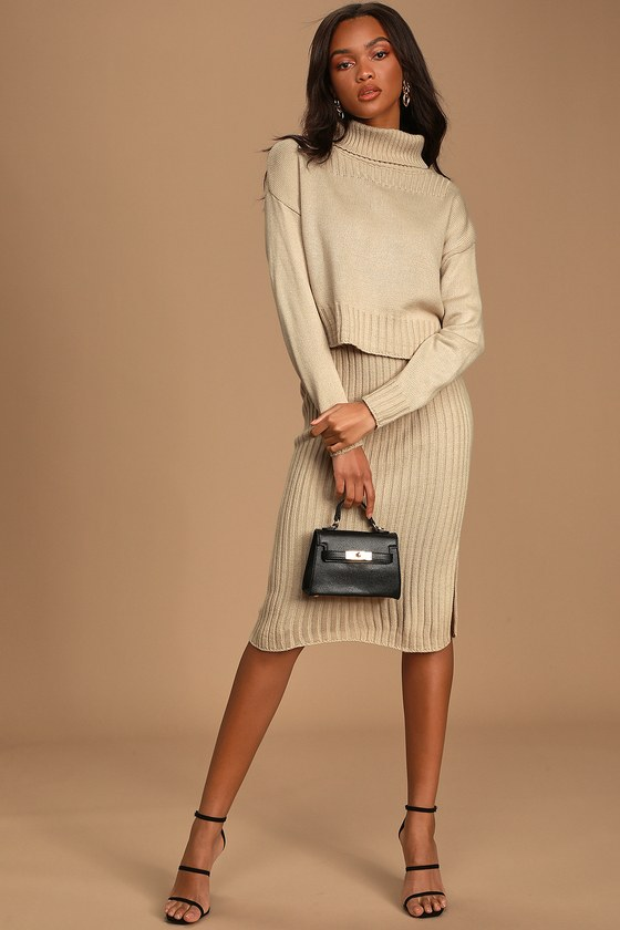Chic You Out Beige Knit Bodycon Two-Piece Midi Dress