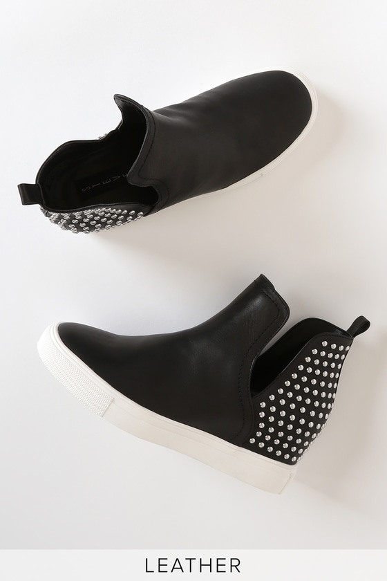 Chloey Black Leather Studded Wedge Sneakers