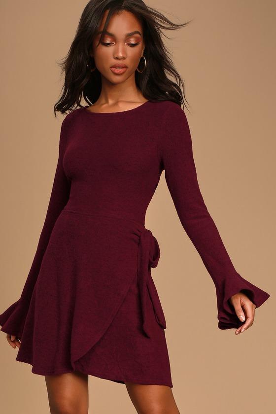 Favorite Tune Burgundy Faux Wrap Sweater Dress