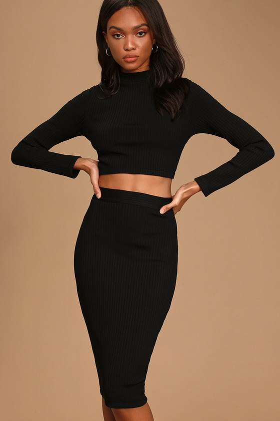 Chic Me Out Black Ribbed Two-Piece Midi Bandage Dress