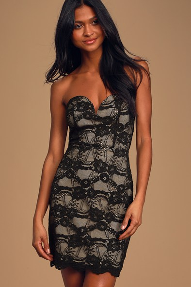 Playing Games Black and Nude Lace Strapless Bodycon Dress