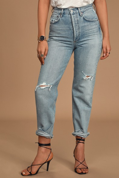 AGoldE 90s Mid Rise Light Wash Loose Fit Distressed Jeans