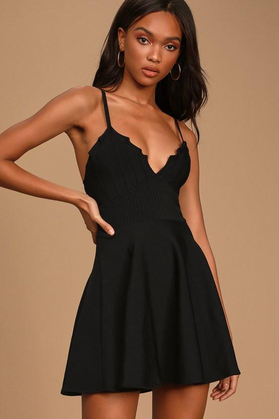 Loving Heart Black Sleeveless Skater Dress