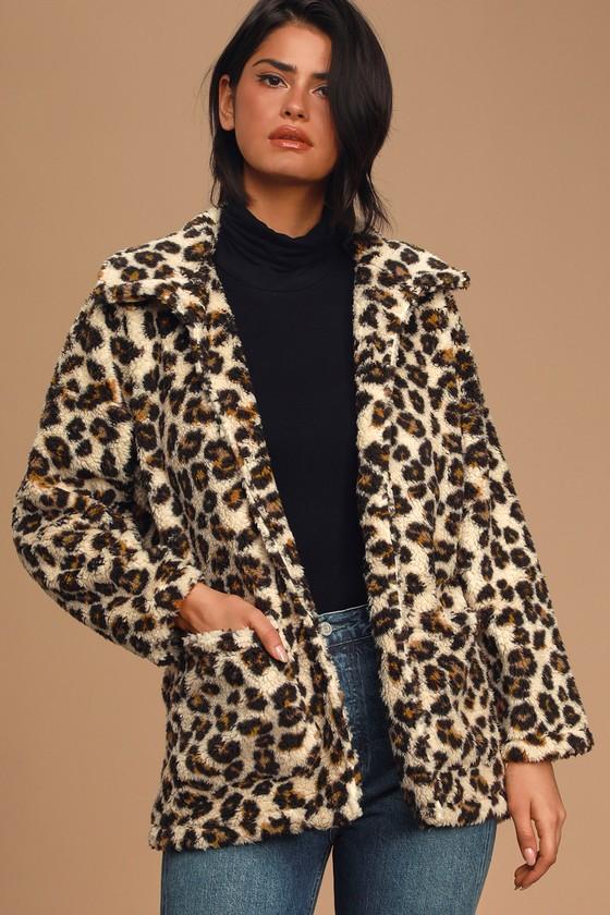 Z Supply The Leopard Sherpa Teddy Bear Coat
