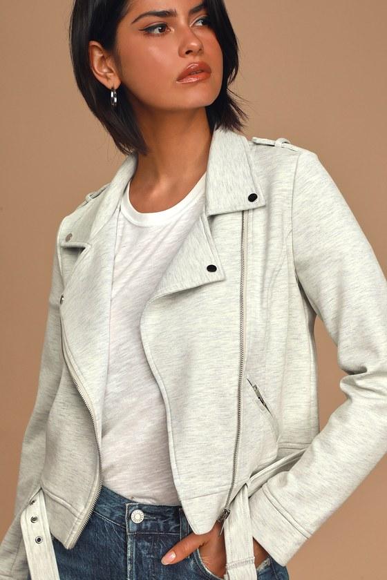 Love With An Attitude Heather Grey Knit Moto Jacket