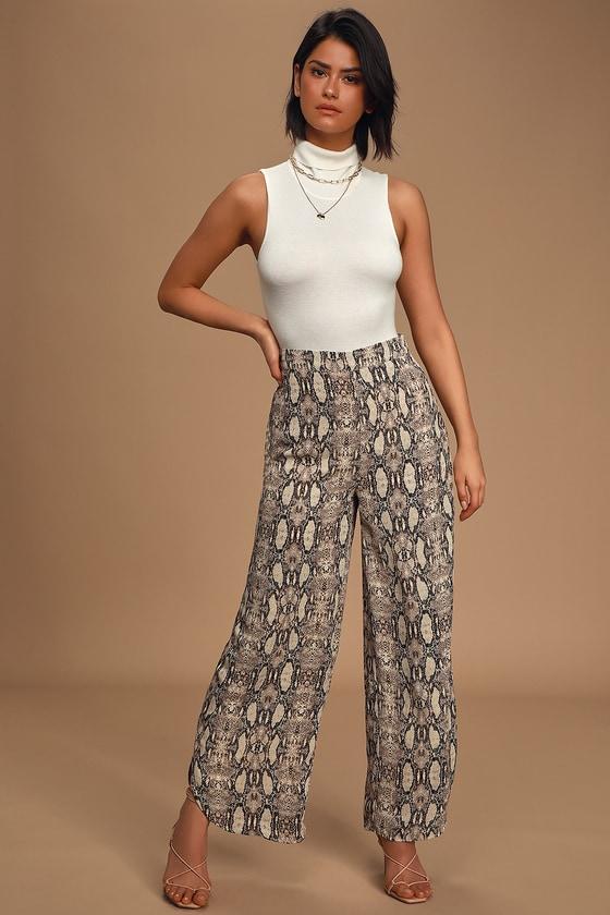 Sage The Label It Girl Tan Multi Snake Print Trouser Pants