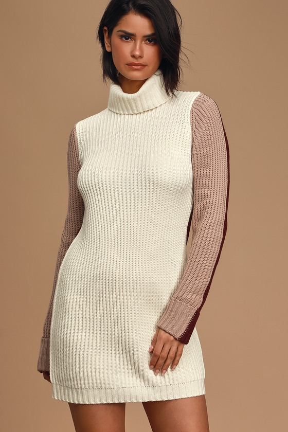 Roll With It Ivory Multi Colorblock Turtleneck Sweater Dress