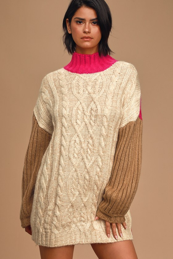 Moon River Block it Out Pink Multi Color Block Cable Knit Sweater Dress