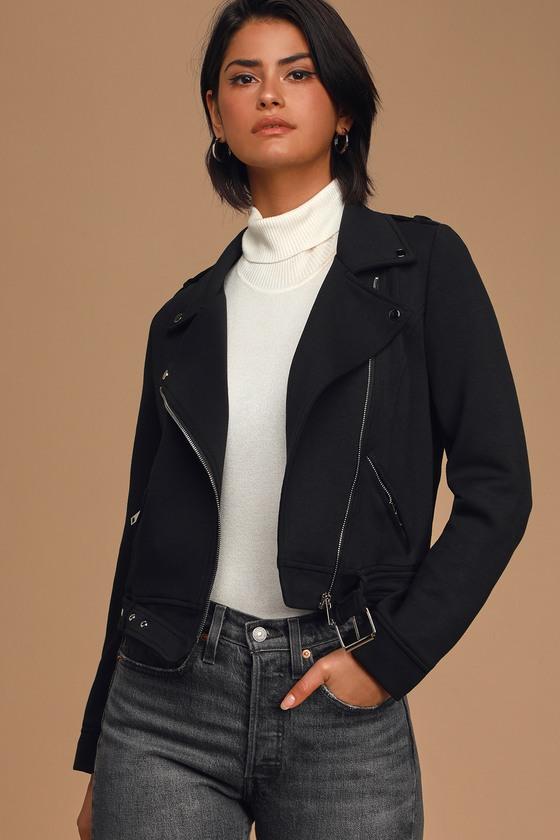 Love With An Attitude Black Knit Moto Jacket