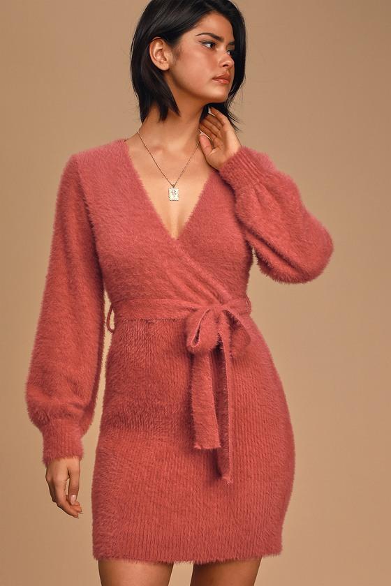What A Flirt Rose Pink Eyelash Knit Belted Sweater Dress