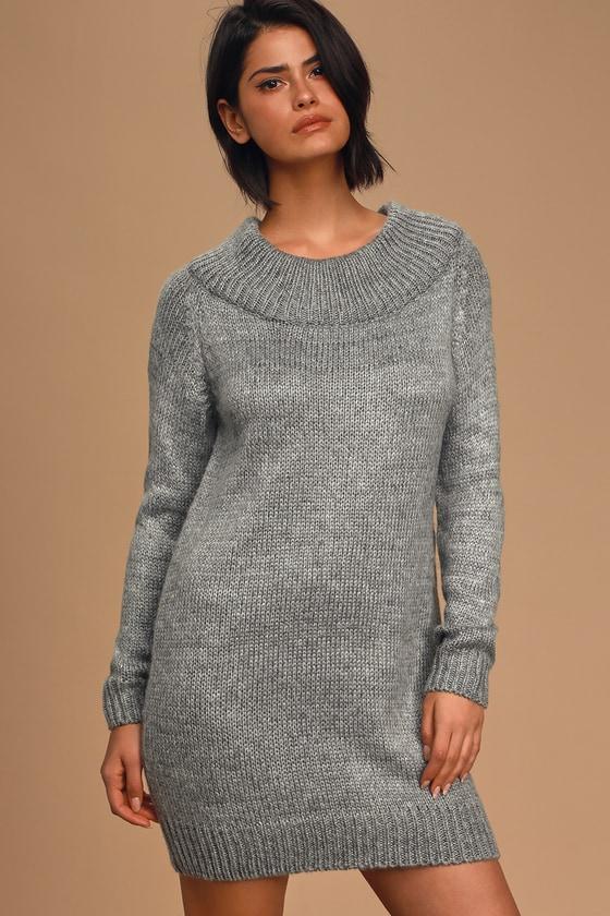 Warm and Fuzzy Grey Knit Sweater Dress