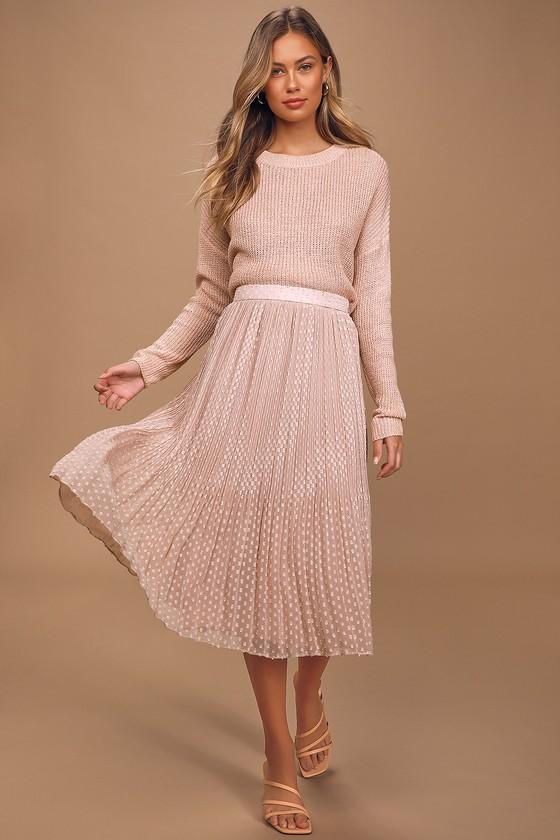 You're On My Mind Blush Pleated Swiss Dot Midi Skirt