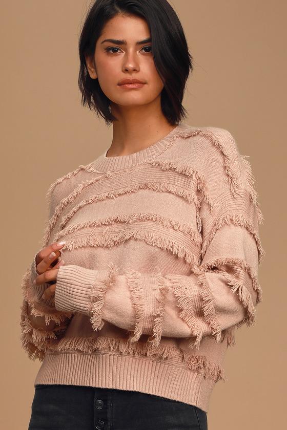 Heart of Dreams Tan Striped Fringe Knit Sweater