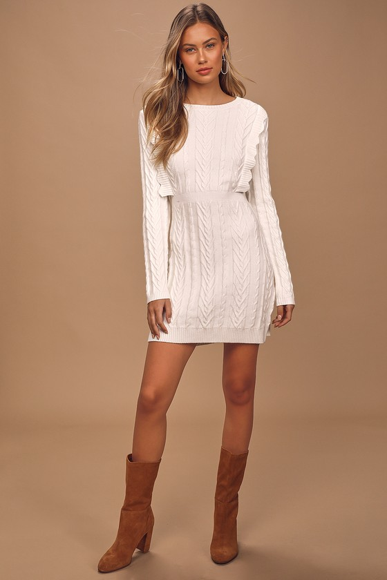 Snowy Day Ivory Cable Knit Bodycon Sweater Dress