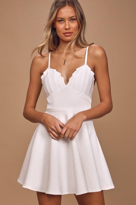 Loving Heart White Sleeveless Skater Dress