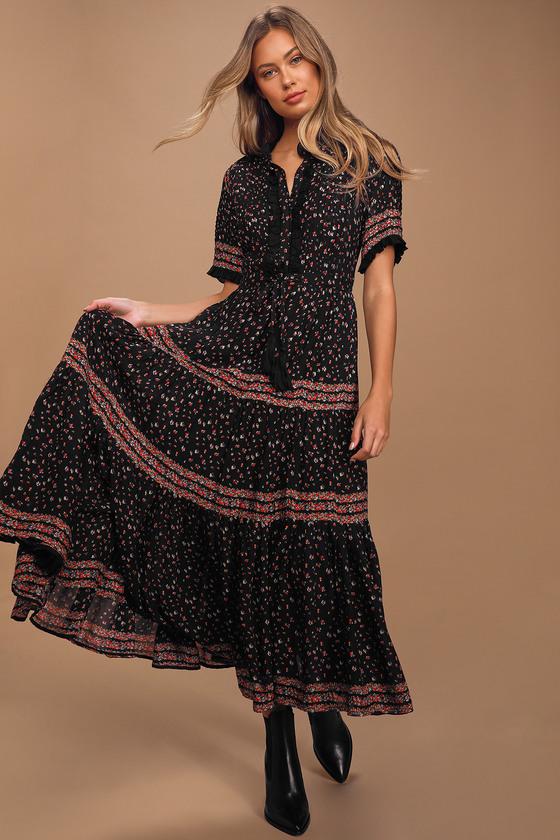 Free People Rare Feelings Black Floral Print Tiered Pleated Maxi Dress