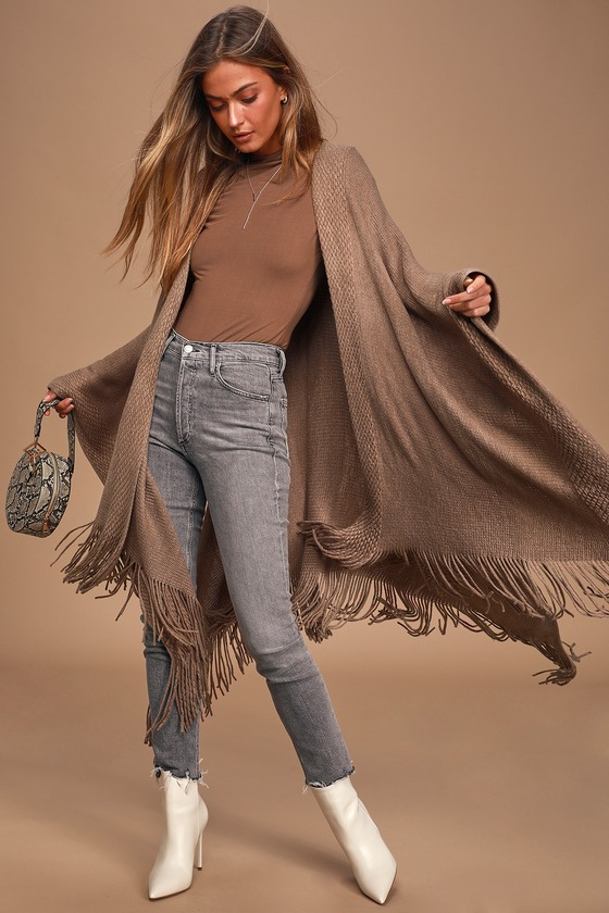 Gentle Fawn Phillipa Taupe Knit Poncho