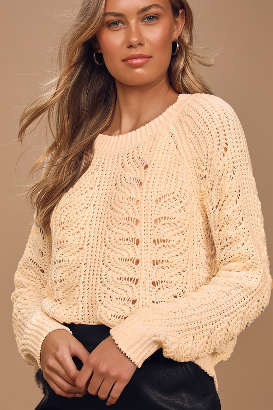 Just Warming Up Cream Chenille Loose Knit Sweater