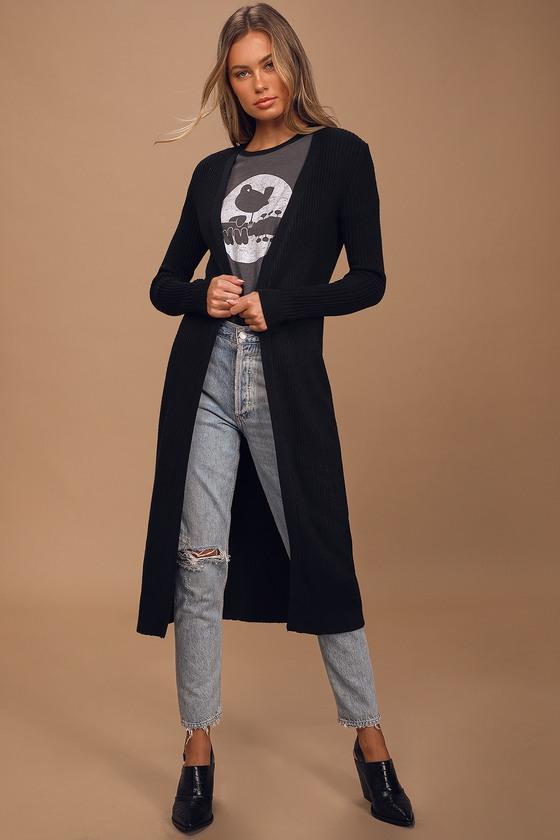 Keep You Cozy Black Ribbed Cardigan Sweater