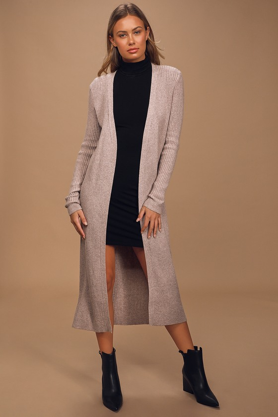 Keep You Cozy Beige Ribbed Cardigan Sweater