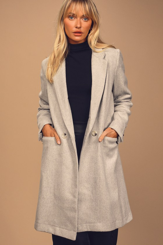 Won and Only Heather Grey Double-Breasted Long Coat