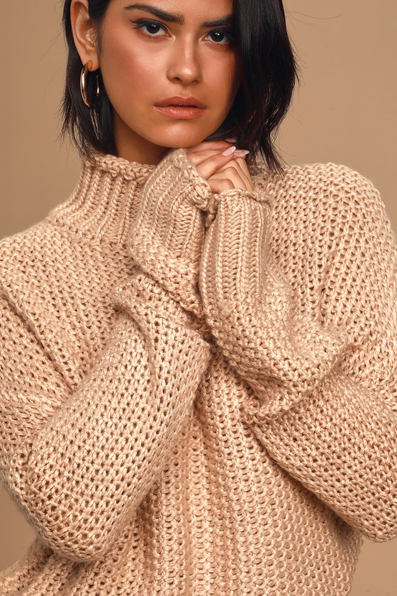 Scenic Route Dusty Pink Knit Turtleneck Sweater