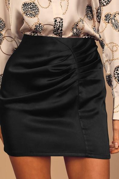 Do You Feel It? Black Satin Ruched Mini Skirt