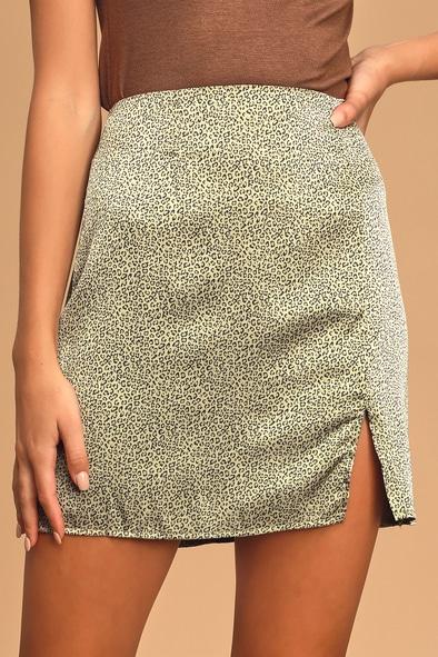 Sage The Label Makin' Moves Sage Green Leopard Print Satin Mini Skirt
