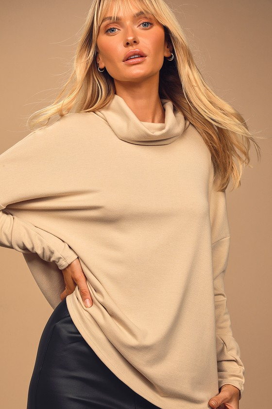 Lounging Around Beige Cowl Neck Long Sleeve Top