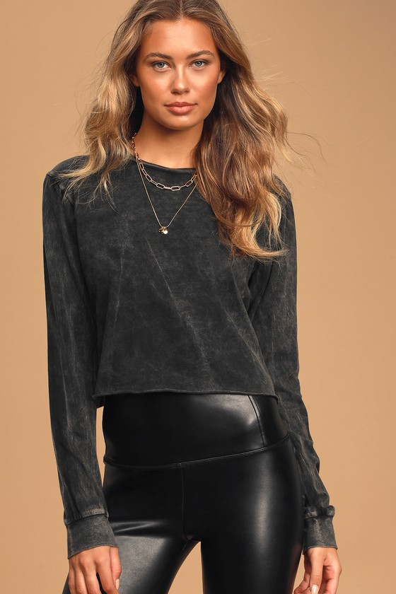Image of Call the Shots Washed Black Long Sleeve Cropped Tee - Lulus