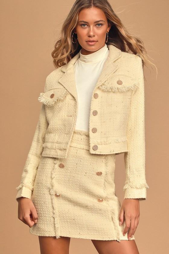 Prim and Proper Cream Tweed Jacket