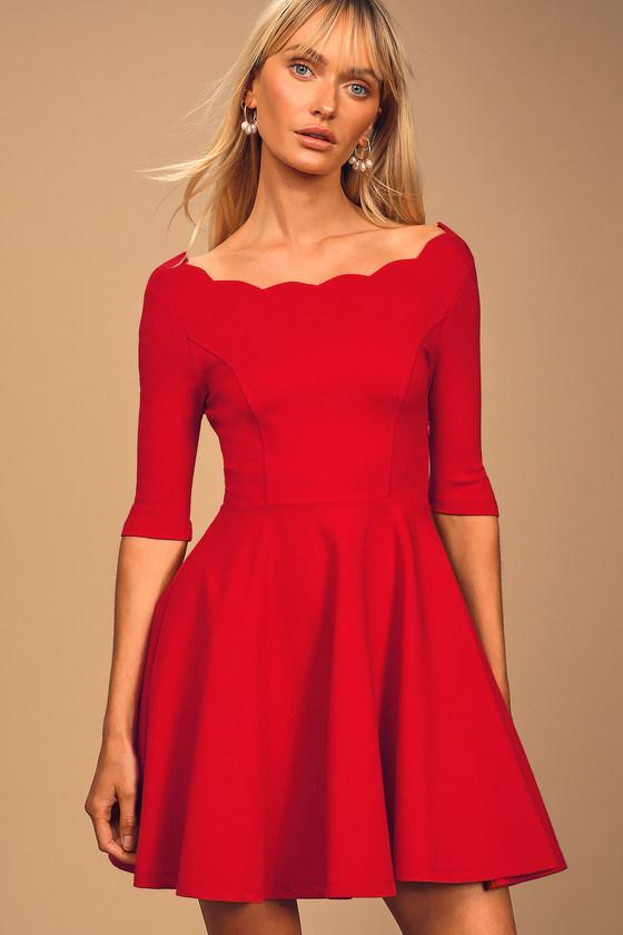 Tip the Scallops Red Scalloped Skater Dress